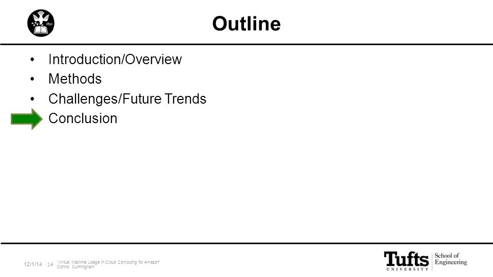 "Outline Introduction/Overview Methods Challenges/Future Trends Conclusion 12/1/14 ""Virtual Machine Usage in Cloud Computing for Amazon"" Connor Cunning"