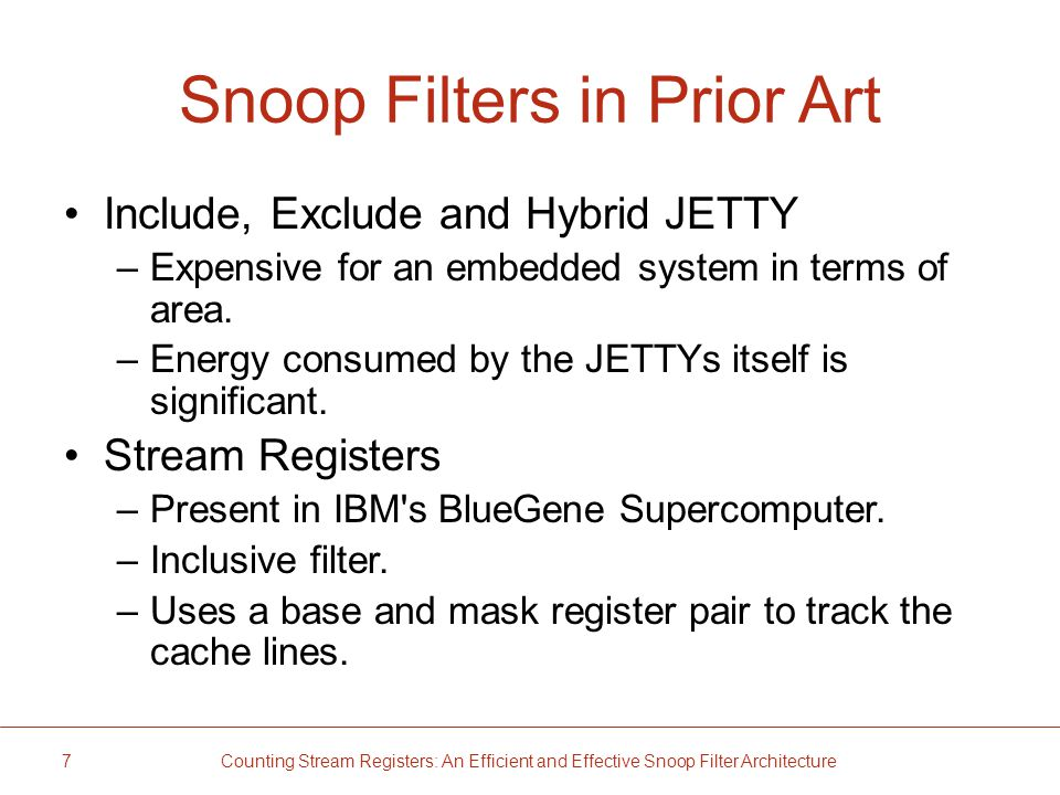 Snoop Filters in Prior Art Include, Exclude and Hybrid JETTY –Expensive for an embedded system in terms of area.
