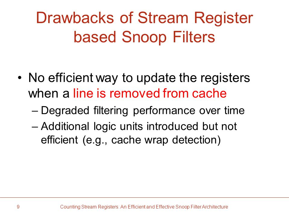 Drawbacks of Stream Register based Snoop Filters No efficient way to update the registers when a line is removed from cache –Degraded filtering performance over time –Additional logic units introduced but not efficient (e.g., cache wrap detection) 9 Counting Stream Registers: An Efficient and Effective Snoop Filter Architecture