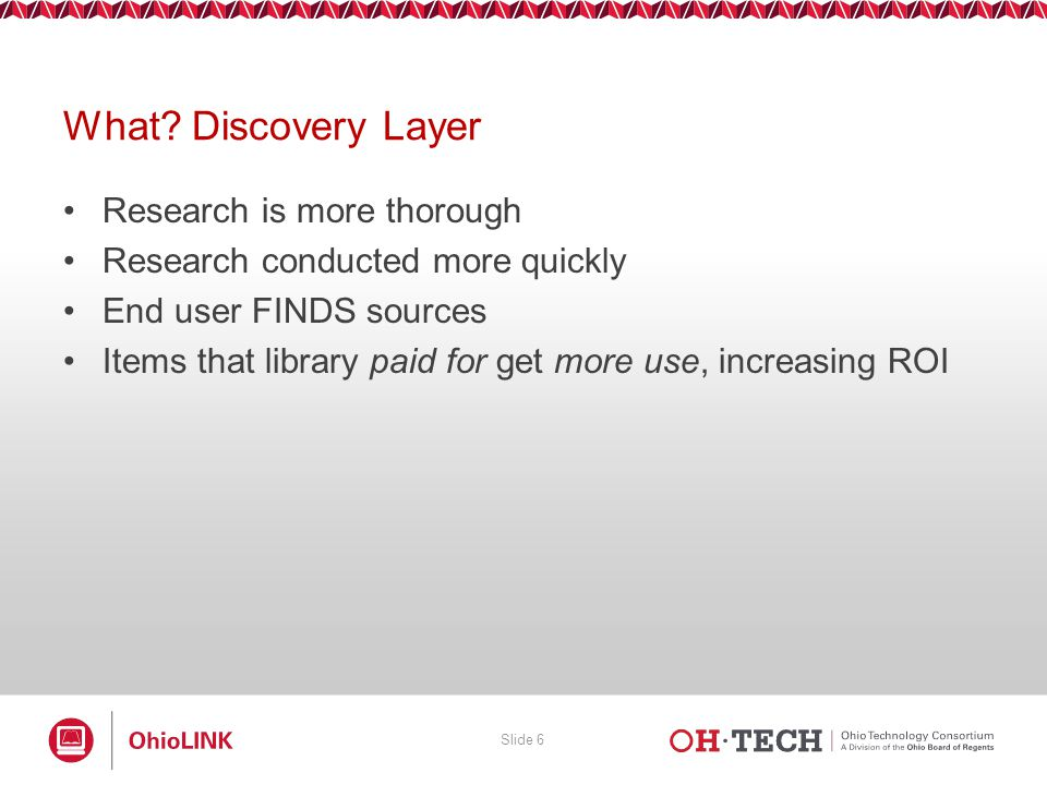Slide 27 Select the down arrow next to Show to view the Enabled databases to automatically search in EBSCO Discovery Service.