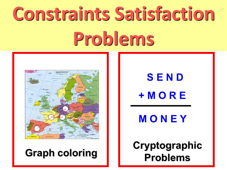 Constraints Satisfaction Problems S E N D + M O R E M O N E Y Graph coloring Cryptographic Problems