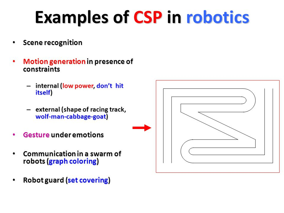 Examples of CSP in robotics Scene recognition Scene recognition Motion generation in presence of constraints Motion generation in presence of constraints – internal (low power, don't hit itself) – external (shape of racing track, wolf-man-cabbage-goat) Gesture under emotions Gesture under emotions Communication in a swarm of robots (graph coloring) Communication in a swarm of robots (graph coloring) Robot guard (set covering) Robot guard (set covering)