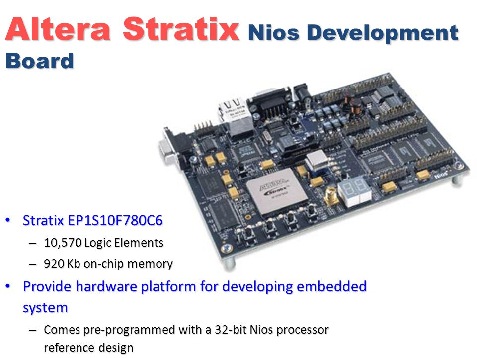 Altera Stratix Nios Development Board Stratix EP1S10F780C6 Stratix EP1S10F780C6 – 10,570 Logic Elements – 920 Kb on-chip memory Provide hardware platform for developing embedded system Provide hardware platform for developing embedded system – Comes pre-programmed with a 32-bit Nios processor reference design