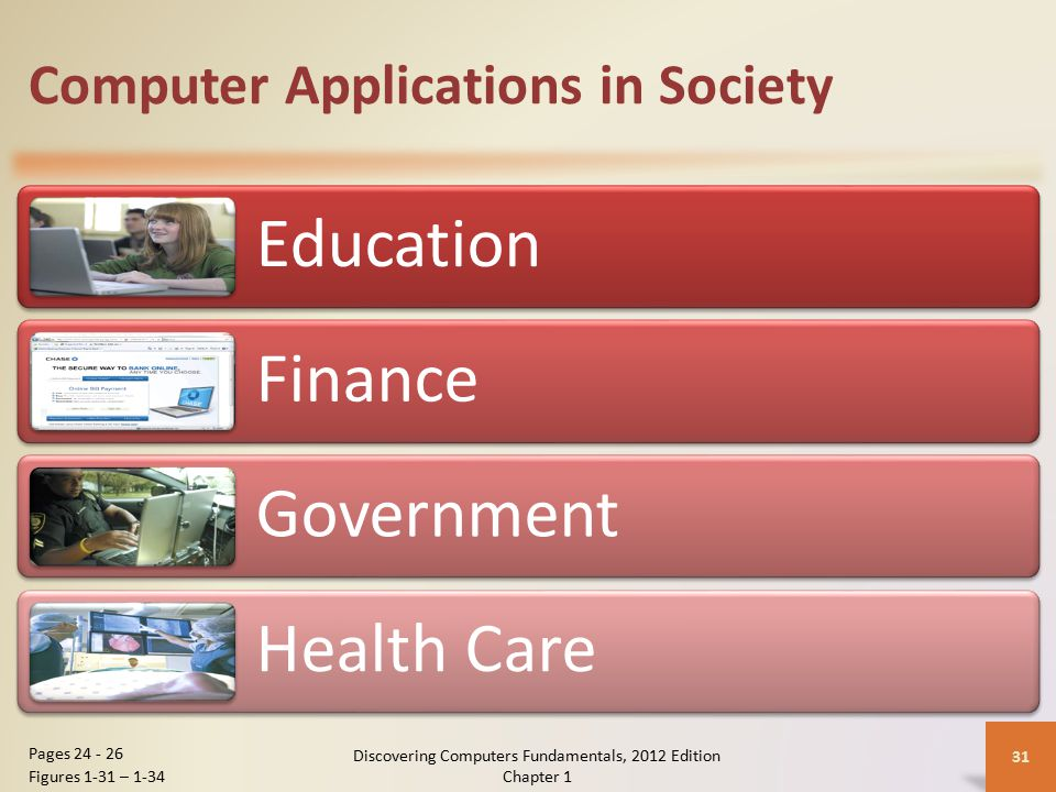 Computer Applications in Society Education Finance Government Health Care Discovering Computers Fundamentals, 2012 Edition Chapter 1 31 Pages 24 - 26 Figures 1-31 – 1-34