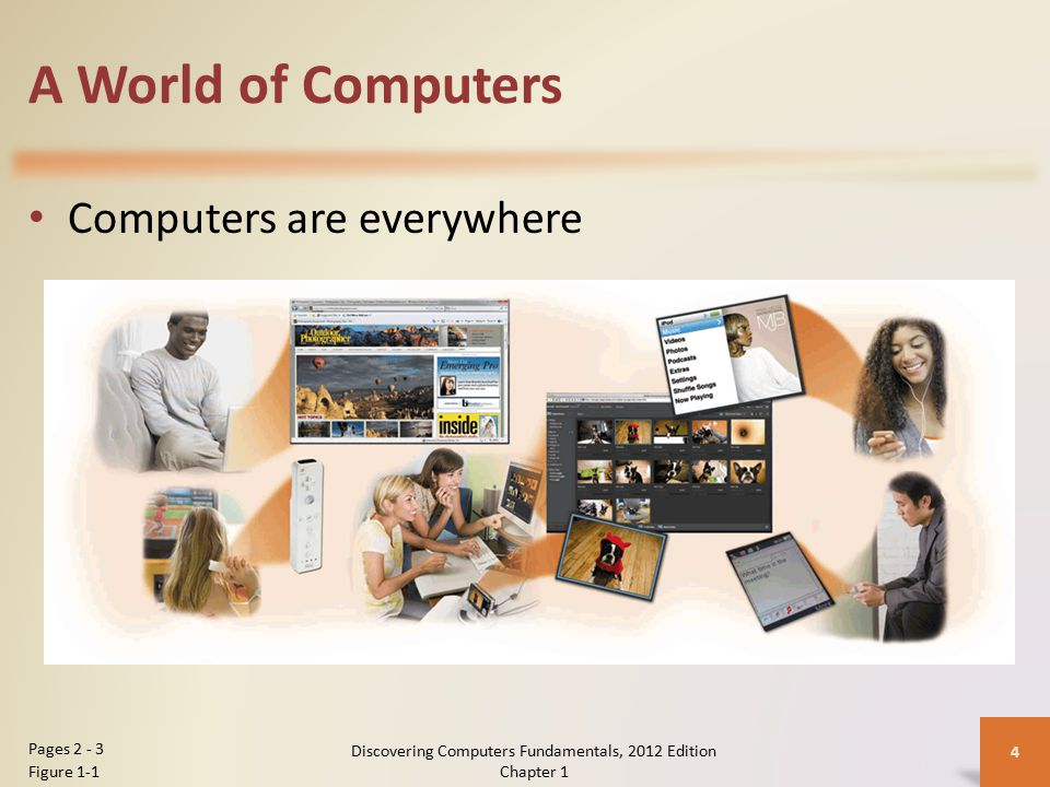 A World of Computers Computers are everywhere Discovering Computers Fundamentals, 2012 Edition Chapter 1 4 Pages 2 - 3 Figure 1-1