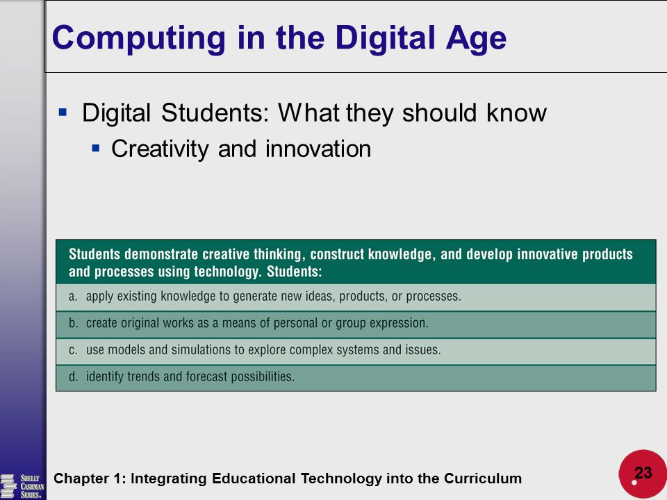 Computing in the Digital Age  Digital Students: What they should know  Creativity and innovation Chapter 1: Integrating Educational Technology into