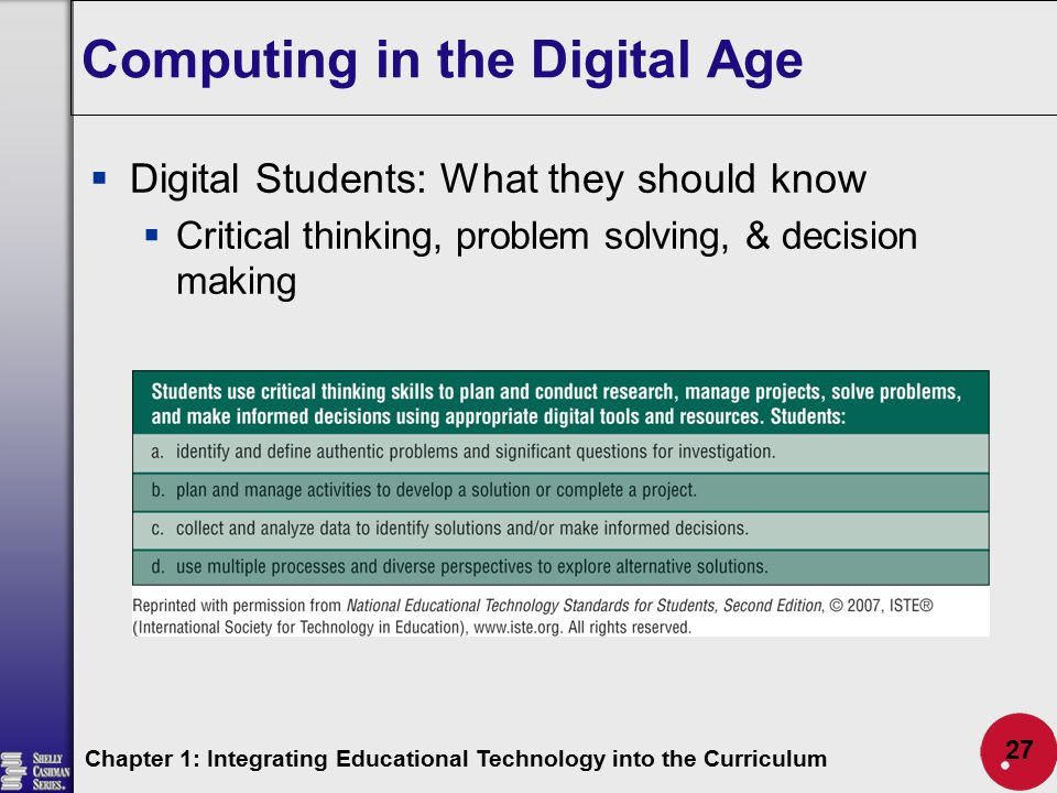 Computing in the Digital Age  Digital Students: What they should know  Critical thinking, problem solving, & decision making Chapter 1: Integrating