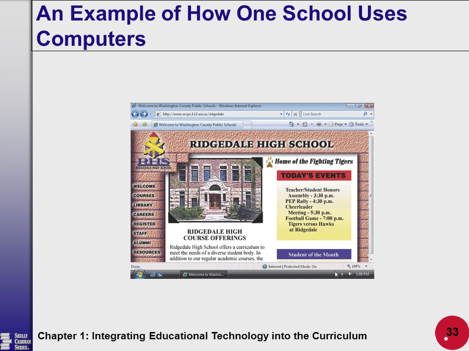 An Example of How One School Uses Computers Chapter 1: Integrating Educational Technology into the Curriculum 33