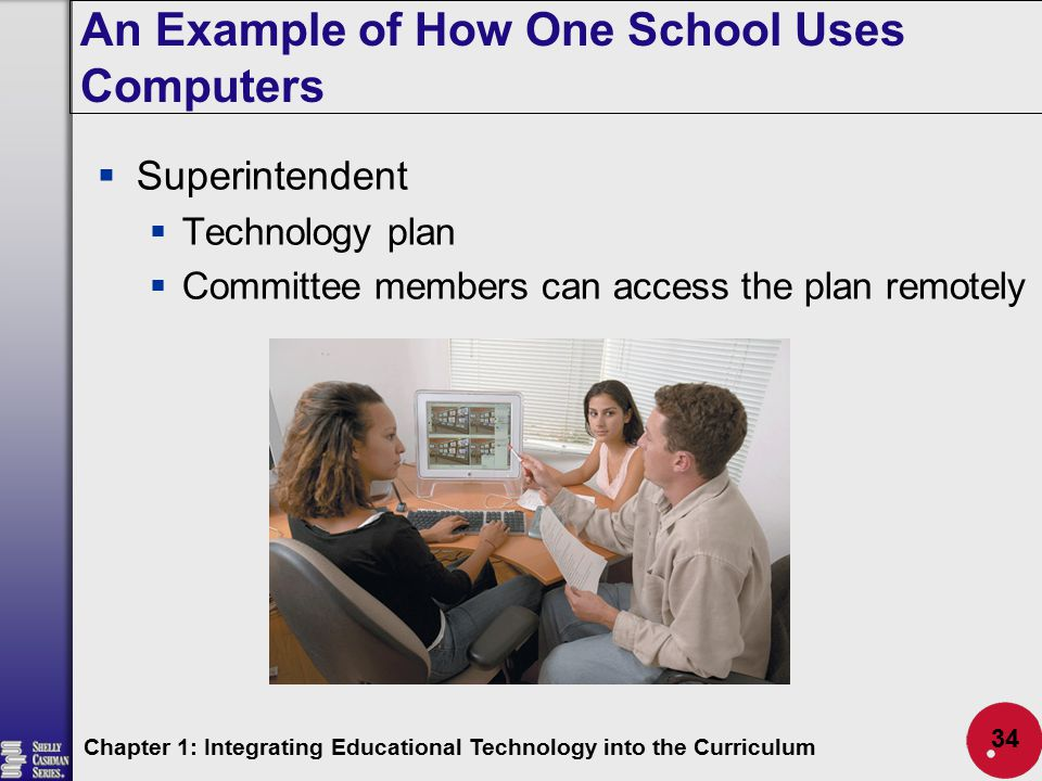 An Example of How One School Uses Computers Chapter 1: Integrating Educational Technology into the Curriculum 34  Superintendent  Technology plan 