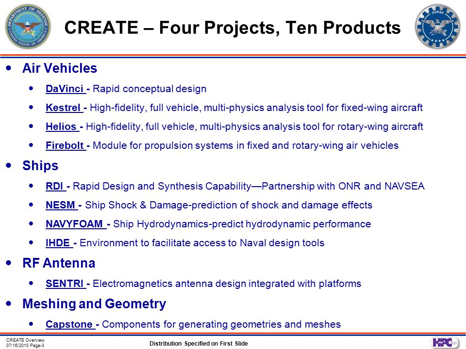CREATE Overview 07/16/2010 Page-3 Distribution Specified on First Slide CREATE – Four Projects, Ten Products Air Vehicles DaVinci - Rapid conceptual d