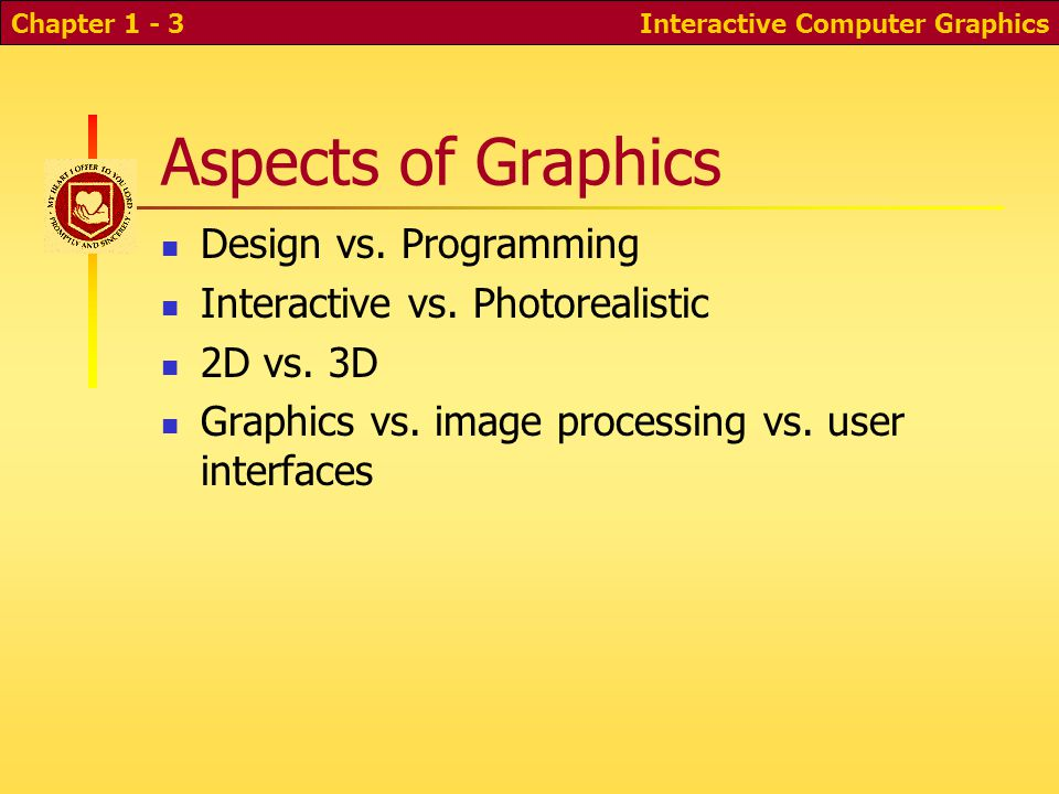 Interactive Computer GraphicsChapter 1 - 3 Aspects of Graphics Design vs.
