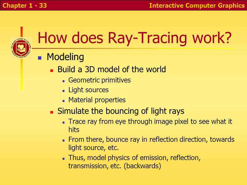 Interactive Computer GraphicsChapter 1 - 33 How does Ray-Tracing work.