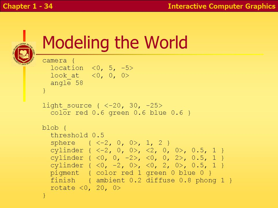 Interactive Computer GraphicsChapter 1 - 34 Modeling the World camera { location look_at angle 58 } light_source { color red 0.6 green 0.6 blue 0.6 } blob { threshold 0.5 sphere {, 1, 2 } cylinder {,, 0.5, 1 } pigment { color red 1 green 0 blue 0 } finish { ambient 0.2 diffuse 0.8 phong 1 } rotate }