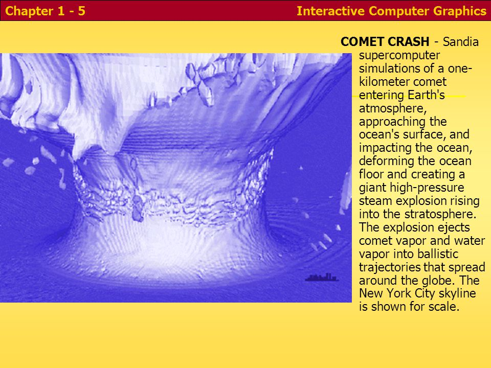 Interactive Computer GraphicsChapter 1 - 5 Comet Simulation COMET CRASH - Sandia supercomputer simulations of a one- kilometer comet entering Earth s atmosphere, approaching the ocean s surface, and impacting the ocean, deforming the ocean floor and creating a giant high-pressure steam explosion rising into the stratosphere.
