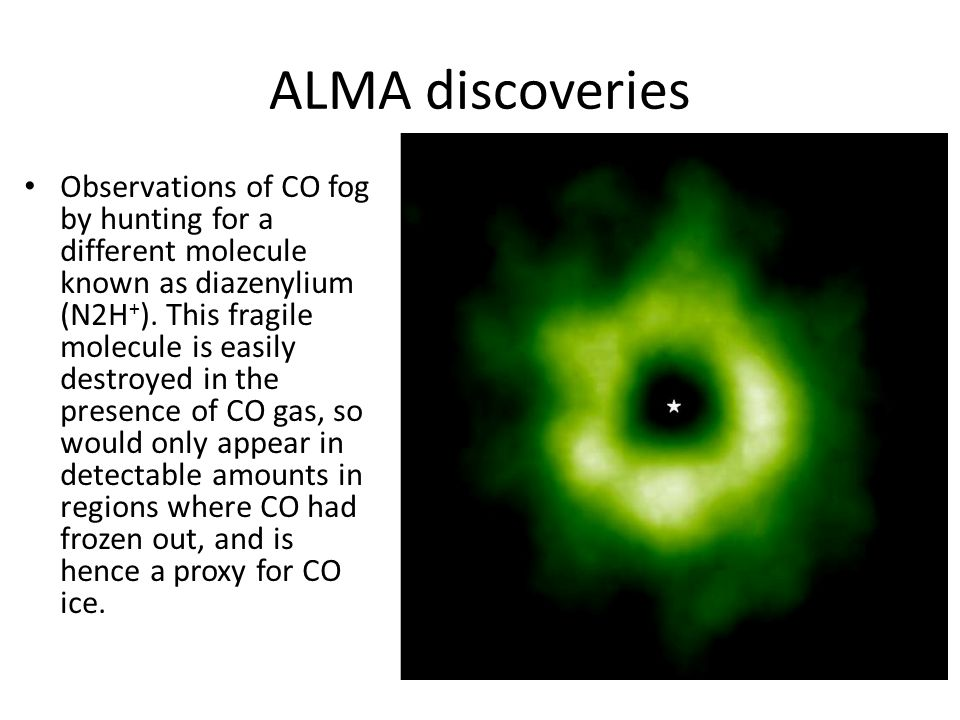 ALMA discoveries Observations of CO fog by hunting for a different molecule known as diazenylium (N2H + ).