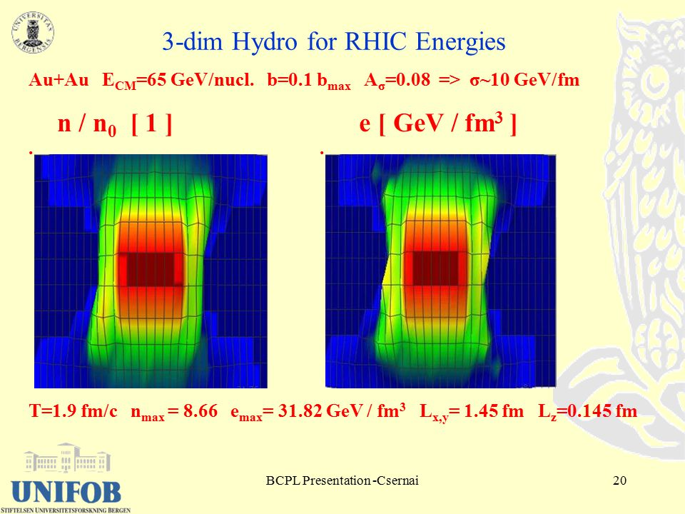 BCPL Presentation -Csernai20 3-dim Hydro for RHIC Energies Au+Au E CM =65 GeV/nucl.