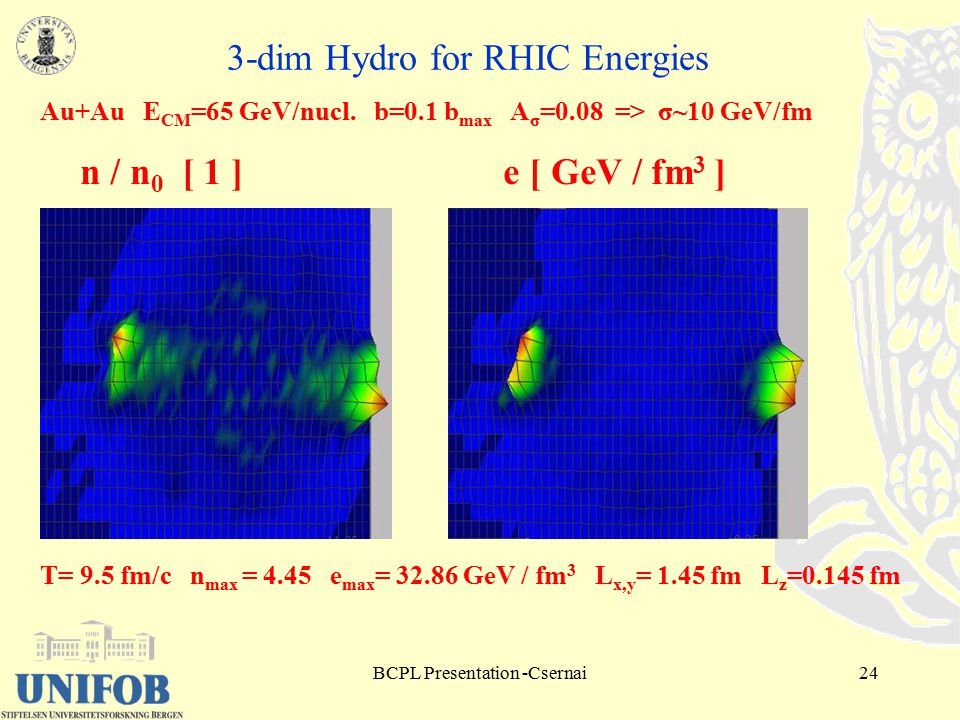 BCPL Presentation -Csernai24 3-dim Hydro for RHIC Energies Au+Au E CM =65 GeV/nucl.