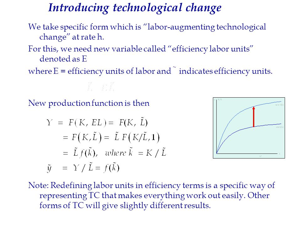 29 Introducing technological change 29 Introducing technological change We take specific form which is labor-augmenting technological change at rate h.