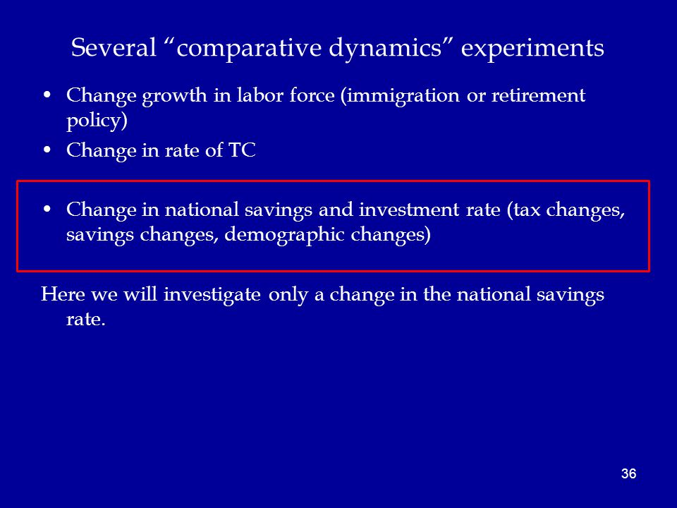 36 Several comparative dynamics experiments Change growth in labor force (immigration or retirement policy) Change in rate of TC Change in national savings and investment rate (tax changes, savings changes, demographic changes) Here we will investigate only a change in the national savings rate.