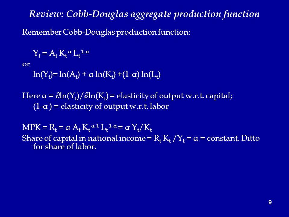 9 Review: Cobb-Douglas aggregate production function Remember Cobb-Douglas production function: Y t = A t K t α L t 1-α or ln(Y t )= ln(A t ) + α ln(K