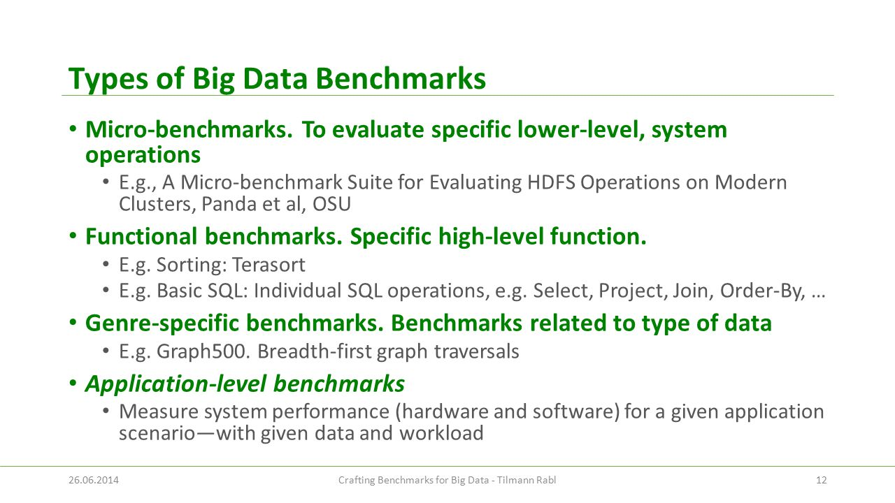 Types of Big Data Benchmarks Micro-benchmarks.