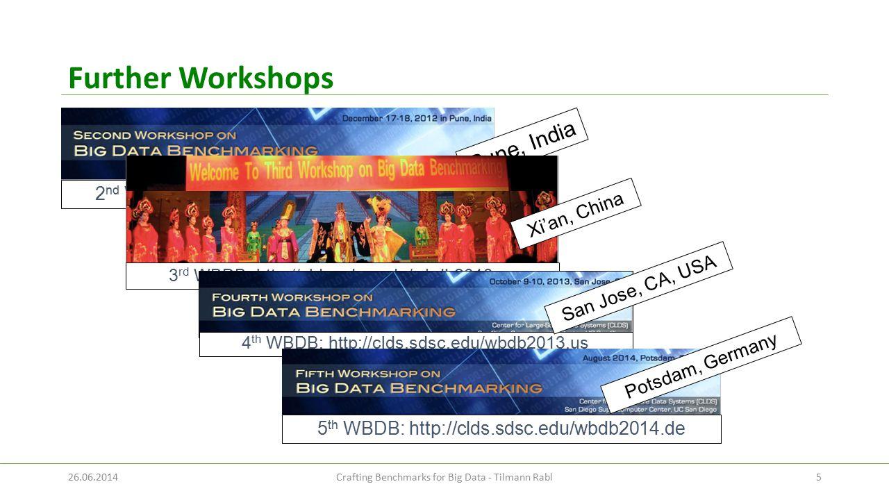Further Workshops 26.06.2014Crafting Benchmarks for Big Data - Tilmann Rabl5 2 nd WBDB: http://clds.sdsc.edu/wbdb2012.in Pune, India 3 rd WBDB: http:/