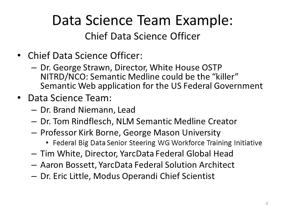 Data Science Team Example: Chief Data Science Officer Chief Data Science Officer: – Dr.