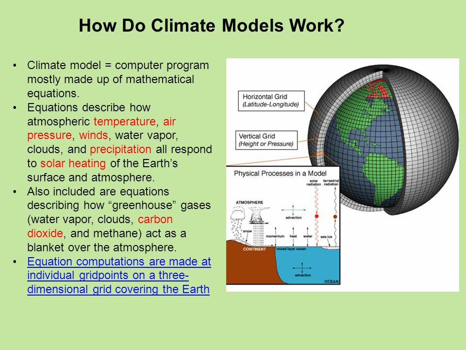 Climate model = computer program mostly made up of mathematical equations.