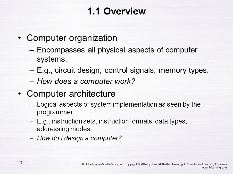 4 1.2 Computer Components There is no clear distinction between matters related to computer organization and matters relevant to computer architecture.