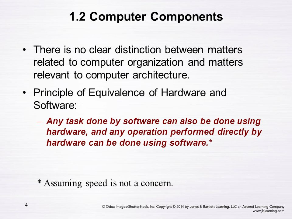 4 1.2 Computer Components There is no clear distinction between matters related to computer organization and matters relevant to computer architecture