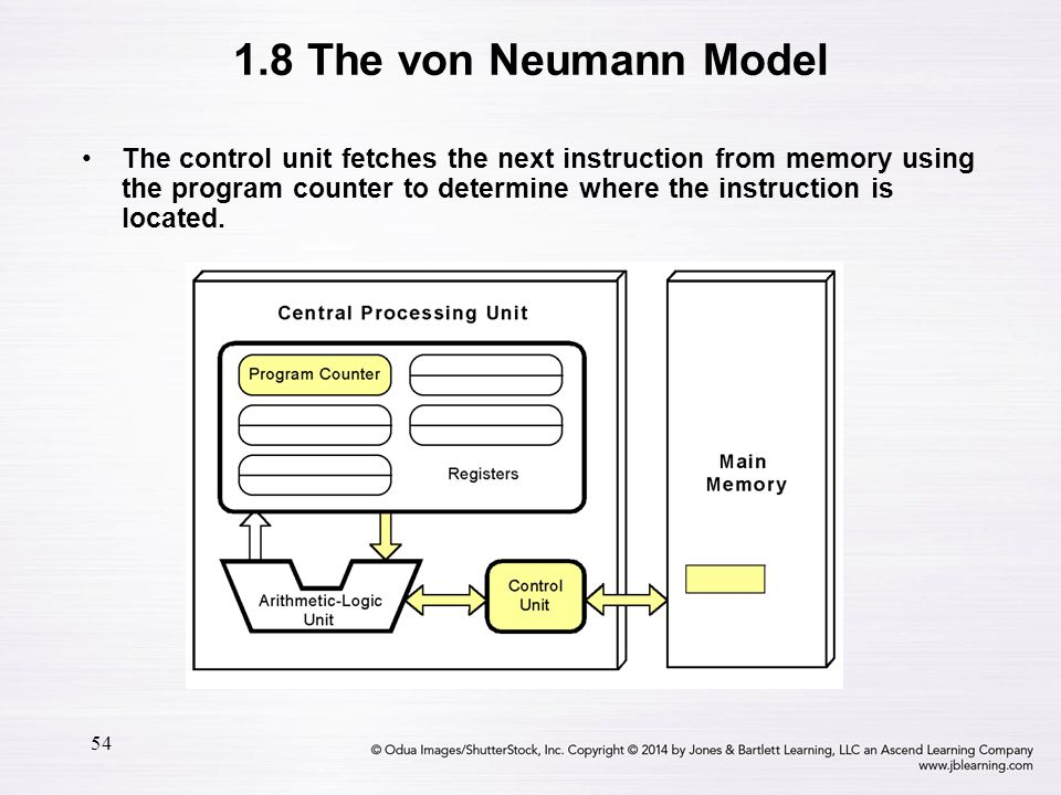 54 The control unit fetches the next instruction from memory using the program counter to determine where the instruction is located. 1.8 The von Neum