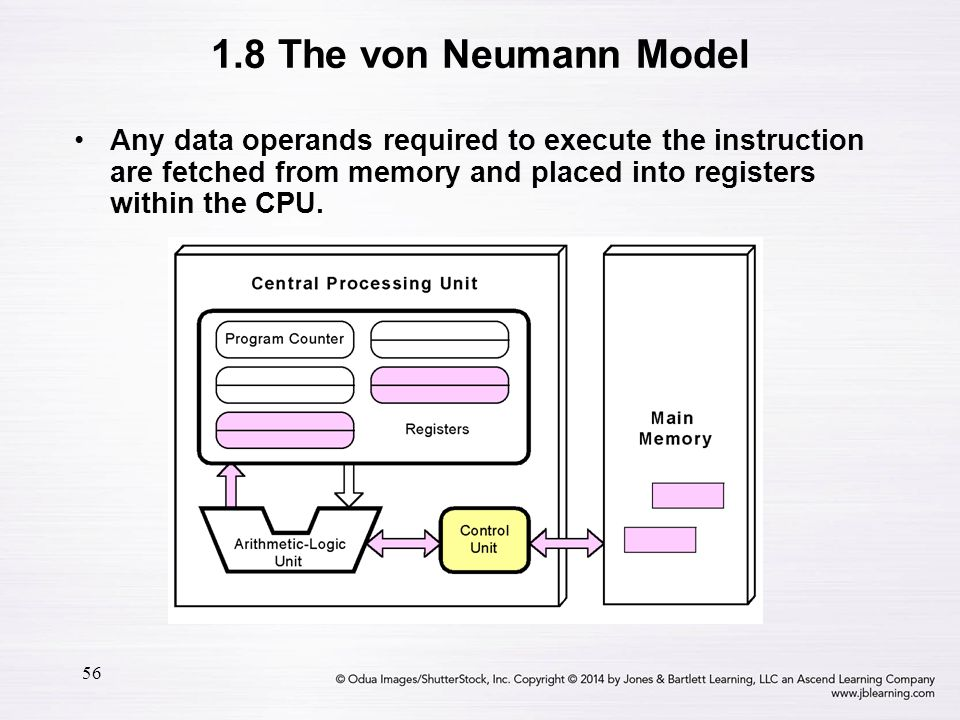 56 Any data operands required to execute the instruction are fetched from memory and placed into registers within the CPU. 1.8 The von Neumann Model