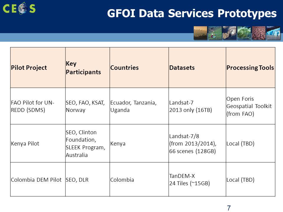 7 GFOI Data Services Prototypes Pilot Project Key Participants CountriesDatasetsProcessing Tools FAO Pilot for UN- REDD (SDMS) SEO, FAO, KSAT, Norway Ecuador, Tanzania, Uganda Landsat-7 2013 only (16TB) Open Foris Geospatial Toolkit (from FAO) Kenya Pilot SEO, Clinton Foundation, SLEEK Program, Australia Kenya Landsat-7/8 (from 2013/2014), 66 scenes (128GB) Local (TBD) Colombia DEM PilotSEO, DLRColombia TanDEM-X 24 Tiles (~15GB) Local (TBD)