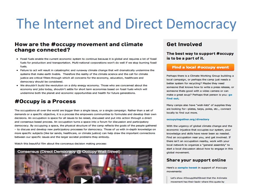 The Internet and Direct Democracy