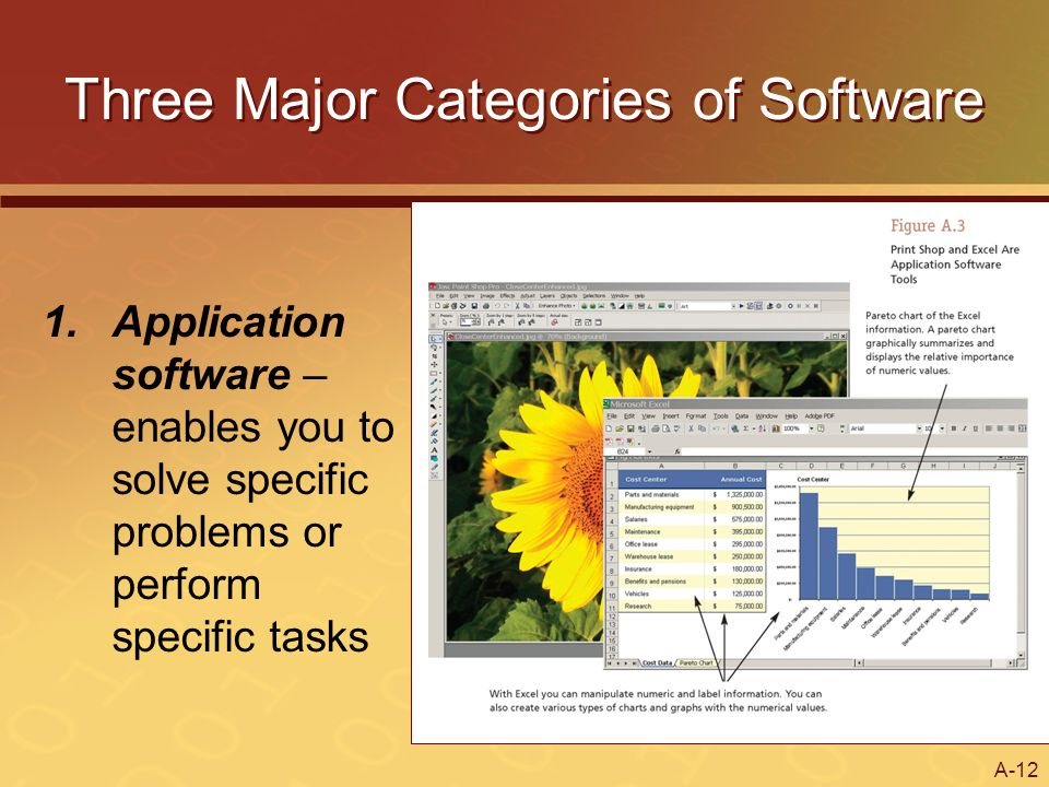 A-12 Three Major Categories of Software 1.Application software – enables you to solve specific problems or perform specific tasks