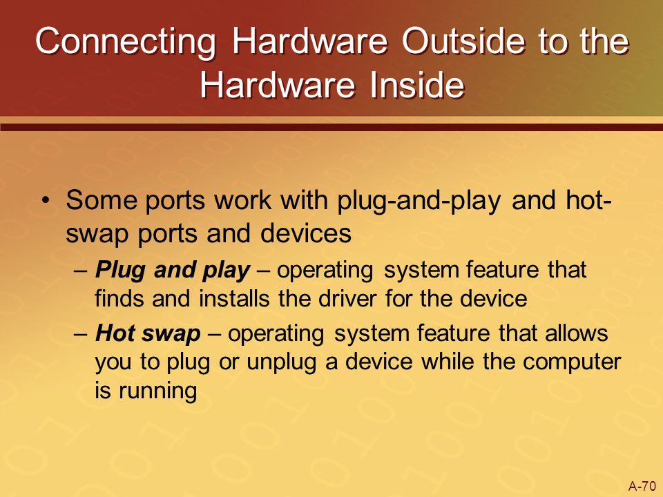 A-70 Connecting Hardware Outside to the Hardware Inside Some ports work with plug-and-play and hot- swap ports and devices –Plug and play – operating