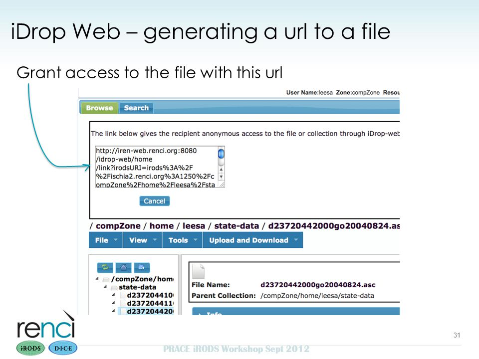 Grant access to the file with this url PRACE iRODS Workshop Sept 2012 31 iDrop Web – generating a url to a file