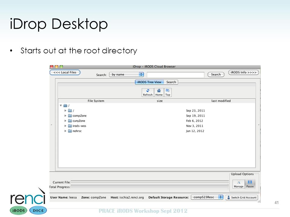 iDrop Desktop Starts out at the root directory PRACE iRODS Workshop Sept 2012 41
