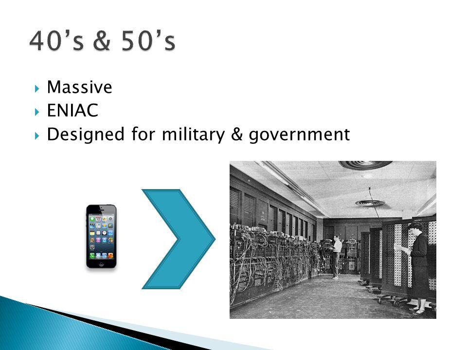 Massive  ENIAC  Designed for military & government