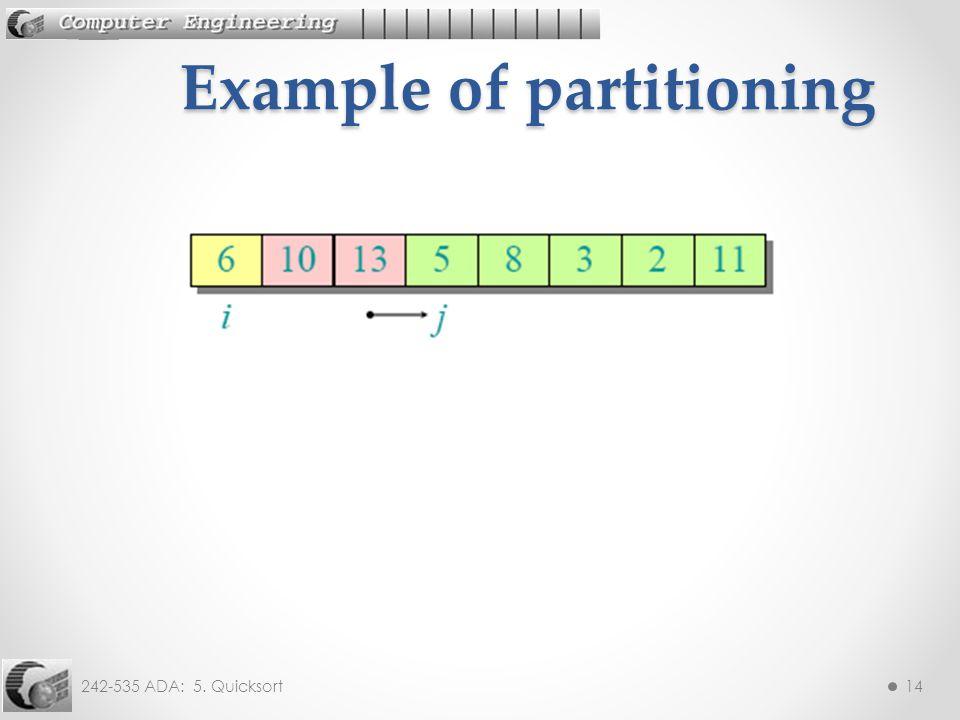 242-535 ADA: 5. Quicksort14 Example of partitioning
