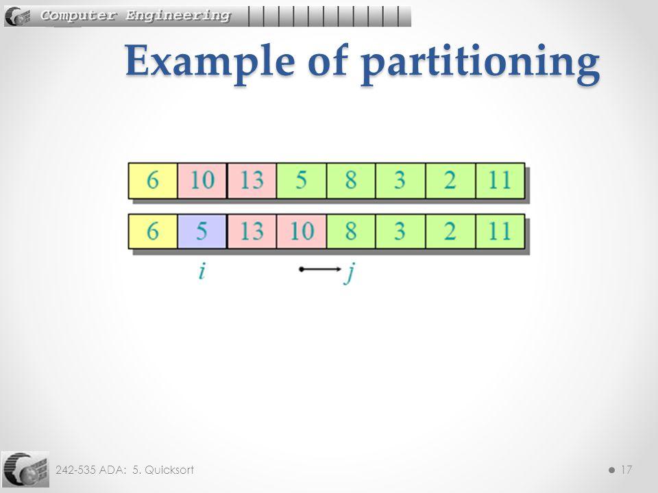 242-535 ADA: 5. Quicksort17 Example of partitioning