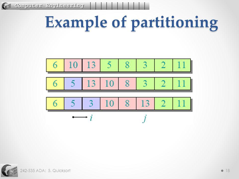 242-535 ADA: 5. Quicksort18 Example of partitioning