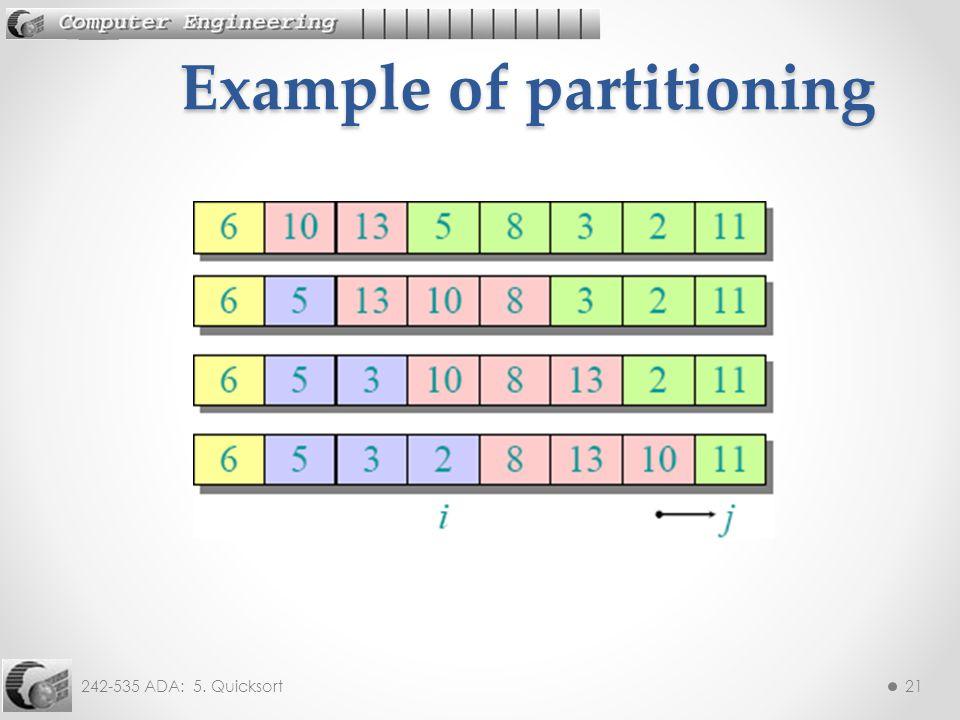 242-535 ADA: 5. Quicksort21 Example of partitioning