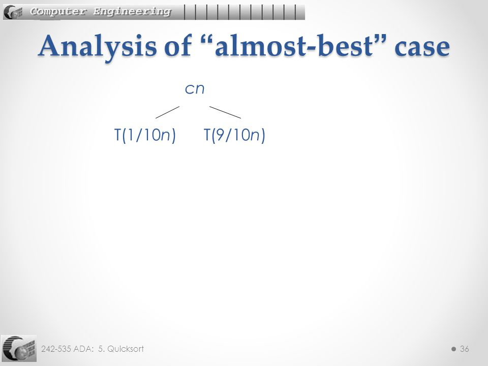 242-535 ADA: 5. Quicksort36 cn T(1/10n) T(9/10n) Analysis of almost-best case