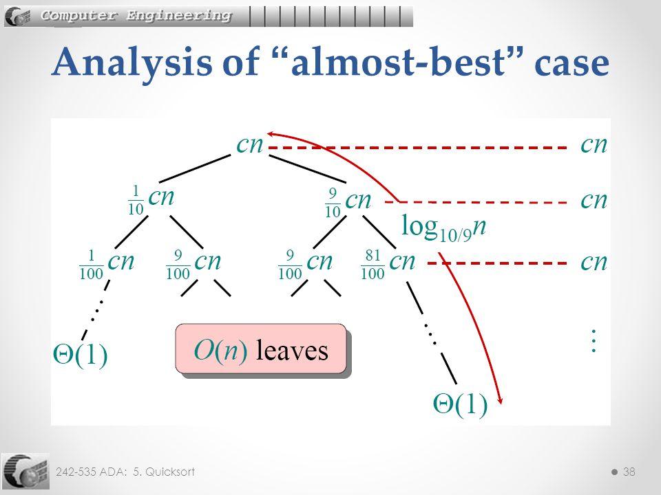 242-535 ADA: 5. Quicksort38 Analysis of almost-best case