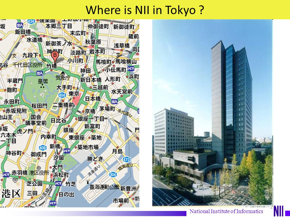 What is National Institute of Informatics (NII) April 2000 NII a national research Institute is established as reorganization of former Institutes existing since 1976 April 2002 NII Joint SOKENDAI University (The Graduate University for Advanced studies http://www.soken.ac.jp/en/ to open Ph.D Program as Department of Informatics (http://www.nii.ac.jp/graduate/index_e.html)http://www.soken.ac.jp/en/http://www.nii.ac.jp/graduate/index_e.html April 2004 begins new chapter as member of Research Organization of Information and Systems (ROIS) General figures - 200 Professors (including visiting professors) - 250 Administration, Development staff, Project researchers, etc, - 130 Graduate students (registered Sokendai- University for Graduate Advanced Studies-,Tokyo University, Tokyo Inst.