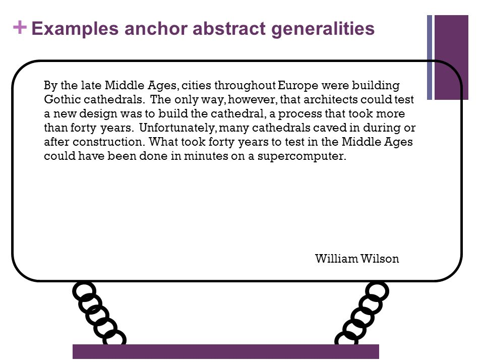 + Examples anchor abstract generalities By the late Middle Ages, cities throughout Europe were building Gothic cathedrals.