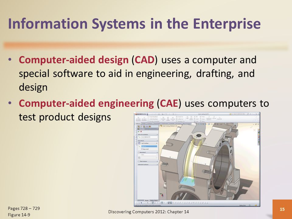 Information Systems in the Enterprise Computer-aided manufacturing (CAM) is the use of computers to control production equipment Computer-integrated manufacturing (CIM) uses computers to integrate the many different operations of the manufacturing process Discovering Computers 2012: Chapter 14 16 Page 729 Figure 14-10