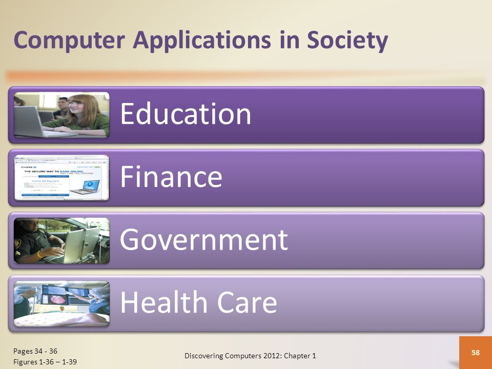 Computer Applications in Society Science Publishing Travel Manufacturing Discovering Computers 2012: Chapter 1 59 Pages 36 - 38 Figures 1-40 – 1-43