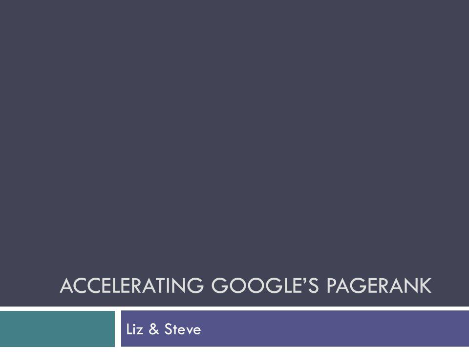 ACCELERATING GOOGLE'S PAGERANK Liz & Steve